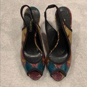 Missoni Slingback Peep Toe Platform Heels